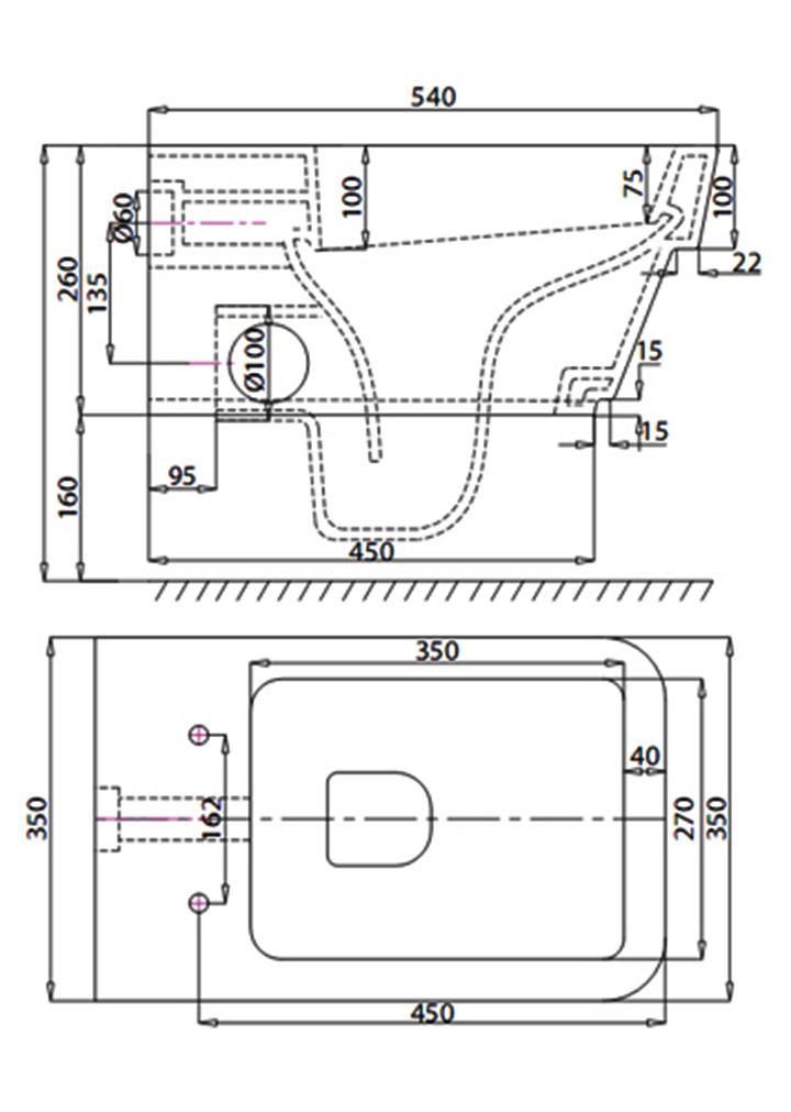 Bản vẽ Bồn cầu két nước âm tường Viglacera V50